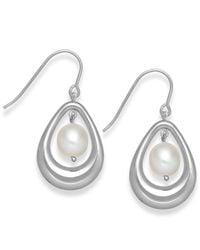 Macy's - Metallic Cultured Freshwater Pearl Teardrop Earrings In Sterling Silver (8mm) - Lyst