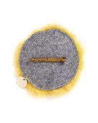 Yves Salomon - Yellow Fox Face Fur Pin Badge - Lyst