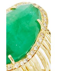 Jacquie Aiche | Green Pave Emerald Multi Waifs Ring | Lyst