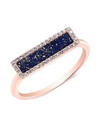 Anne Sisteron - Metallic 14kt Rose Gold Lapis Lazuli Diamond Bar Ring - Lyst
