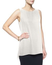 Eileen Fisher | White Sleeveless Silk Long Shell | Lyst