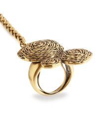 Oscar de la Renta | Metallic Swirl Gold Plated Finger Bracelet | Lyst