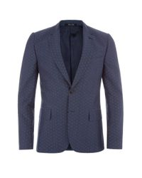 Paul Smith - Blue Men's Tailored-fit Navy Jacquard Cotton Blazer for Men - Lyst