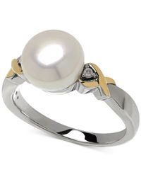 Macy's | Gray Cultured Freshwater Pearl (9mm) And Diamond Accent Ring In 14k Gold And Sterling Silver | Lyst