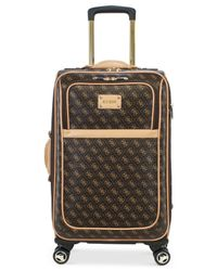 "Guess | Brown Logo Affair Dlx 21"" Carry-on Spinner Suitcase for Men 