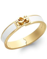 Kate Spade | Gold-Tone White Turnlock Bangle Bracelet | Lyst