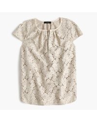 J.Crew - Gray Tall Cap-sleeve Floral Lace Top - Lyst