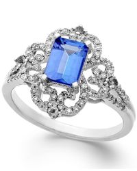 Macy's | Blue Tanzanite (1-1/5 Ct. T.w.) And Diamond (1/3 Ct. T.w.) Ring In 14k White Gold | Lyst