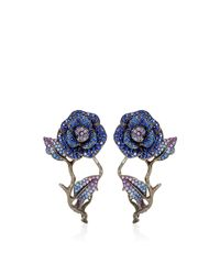 Lydia Courteille | Blue 18k Yellow Gold To Cassandra Earrings with Fancy Sapphires | Lyst