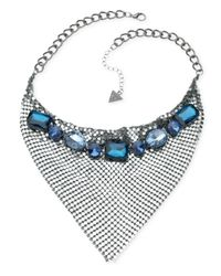 Guess | Hematite-Tone Blue Crystal Statement Necklace | Lyst
