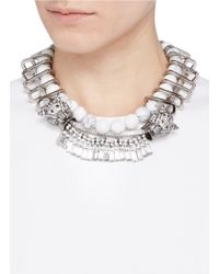 Venna | Metallic Crystal Jaguar Head Marbled Chain Link Necklace | Lyst