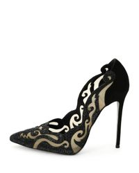 Rene Caovilla - Black Crystal-Embellished Suede and Mesh Pumps - Lyst