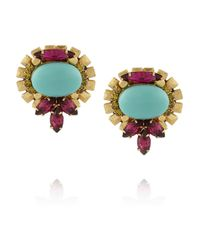 Elizabeth Cole - Blue Goldplated Crystal and Cabochon Earrings - Lyst