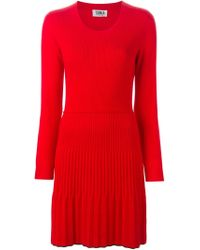 Sonia by Sonia Rykiel - Red Pleated Detail Longsleeved Dress - Lyst