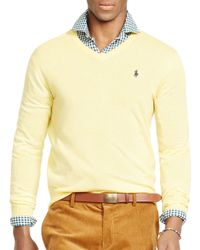 Pink Pony | Yellow Polo Slim-fit Merino V-neck Sweater for Men | Lyst