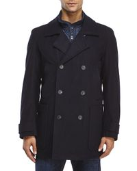 Marc New York | Blue Double-Breasted Wool Peacoat for Men | Lyst