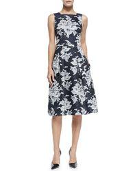 Carolina Herrera - Blue Lace-print Gazer Party Dress - Lyst