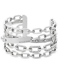 Michael Kors | Metallic Chain Link Silver-tone Statement Cuff Bracelet | Lyst