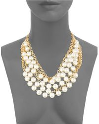 Kenneth Jay Lane | Metallic Faux Pearl And Golden Collar Necklace | Lyst