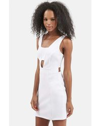 TOPSHOP | White Cutout Bralette Body-con Dress | Lyst