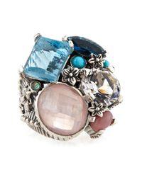 Stephen Dweck - Multicolor Blue Topaz Rose Quartz Crystal Ring Blue - Lyst