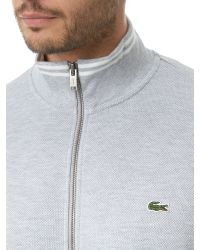 Lacoste | Gray High Collar Zip Sweater for Men | Lyst