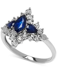 Macy's | Blue Sapphire (9/10 Ct. T.w.) And Diamond Accent Lady Diana Ring In 10k White Gold | Lyst