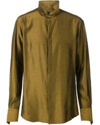 Strateas Carlucci - Brown High Collar Shirt for Men - Lyst