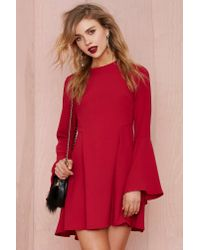 Nasty Gal - Red Bell Raiser Crepe Dress - Lyst