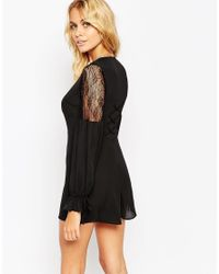 ASOS - Black 70's Playsuit With Blouson Sleeve And Lace Insert - Lyst