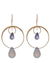 Melissa Joy Manning - Metallic Gold Blue Chalcedony Two Drop Earrings - Lyst