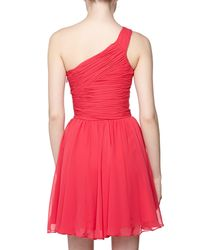 Halston - Pink Oneshoulder Pleated Cocktail Dress Fuchsia 4 - Lyst