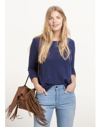 Violeta by Mango | Blue Trim Linen T-shirt | Lyst