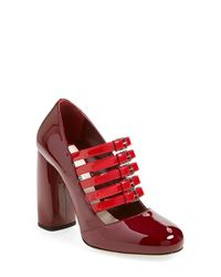 Miu Miu | Red Buckled Patent Pump | Lyst