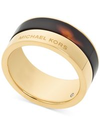 Michael Kors | White Gold-Tone Colorblocked Band Ring | Lyst