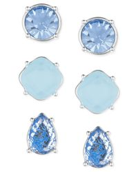 Nine West | Silver-tone Blue Stud Trio Earring Set | Lyst