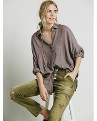 Free People | Purple Womens Dropped Seam Buttondown Shirt | Lyst