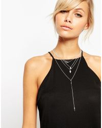 ASOS | Metallic Occasion Crystal Multirow Necklace | Lyst