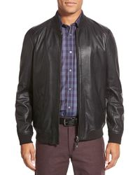 Ted Baker | Black 'ovid' Lambskin Leather Bomber for Men | Lyst