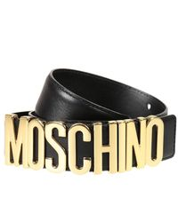 Moschino | Black Belt Lettering Calf Leather | Lyst
