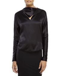 Les Copains - Black Asymmetrical Silk Blouse - Lyst