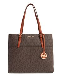 MICHAEL Michael Kors - Brown 'bedford' Top Zip Coated Canvas Pocket Tote - Lyst