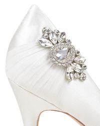 Badgley Mischka   White Seduce Embellished Satin Evening Shoe   Lyst