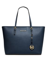 MICHAEL Michael Kors | Blue Jet Set Leather Travel Tote | Lyst