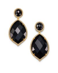 Mija - Black Onyx White Sapphire Oval Marquis Drop Earrings - Lyst