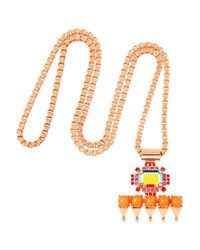 Mawi | Pink Rose Goldplated Crystal and Bead Pendant Necklace | Lyst