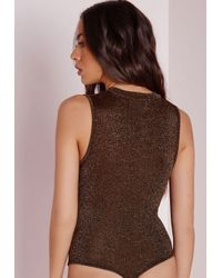 Missguided | Glitter Extreme Drop Front Bodysuit Black | Lyst