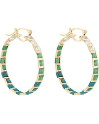 Nak Armstrong - Green Emerald, Rainbow Moonstone, Chrysocolla & Gold Hoop Earrings - Lyst