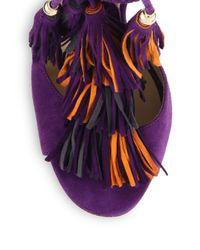 Jimmy Choo - Purple Mindy Suede Lace-up Tassel Sandals - Lyst