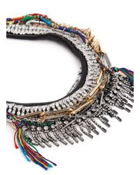 Venna | Multicolor Crystal Spike Fringe Threadwork Necklace | Lyst
